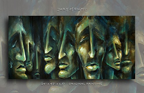 Urban Expression Modern Art 'Jury of Eight' Giclee Canvas Print of an Original By Michael Lang 24