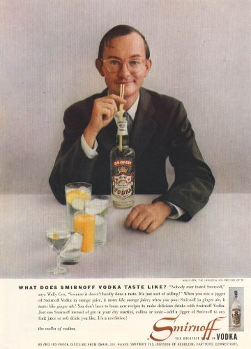 Orange Vodka - Wally Cox for Smirnoff Vodka ad 1957 orange juice