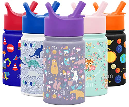 Simple Modern 10oz Summit Kids Water Bottle Thermos with Straw Lid - Dishwasher Safe Vacuum Insulated Double Wall Tumbler Travel Cup 18/8 Stainless Steel -Woodland Friends