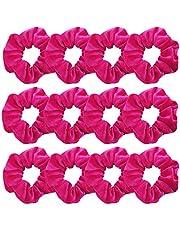 GUVASS 12 Pack Hair Scrunchies Hot Pink Velvet Elastics Scrunchy Bobbles Soft Hair Bands Hair Ties