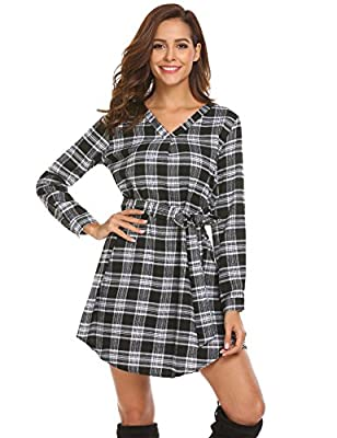 Beyove Women's Grid Plaid Printed Loose Long Sleeve V-Neck Belted Checked Shirt Dress