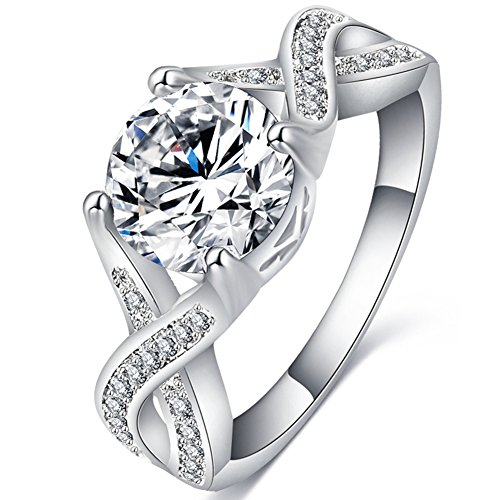 FENDINA Women's Jewelry Infinity Solitaire Rings Luxurious 18K White Gold Plated CZ Halo Anniversary Rings Wedding Engagement Eternity Love Promise Ring for Her (5.5)