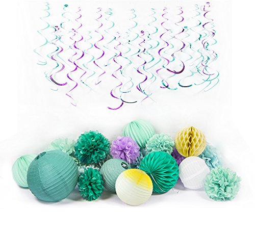 Teal Purple Mint Tissue Paper Pom Poms Flowers Paper Lanterns Foil Hanging Swirls for Bridal Shower Girls' Birthday Wedding Under the Sea Party Decoration Easy Joy -