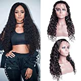 Maxine Water Wave Lace Front Wig Human Hair Pre Plucked with Baby Hair 130% Density Wet and Wavy Human Hair Wigs for Black Women Natural color(14inch)