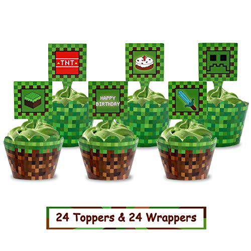 Pixel Cupcake Toppers and Wrapper Happy Birthday Party Printable Cake Decoration Block Games Inspired Supplies 24pcs]()
