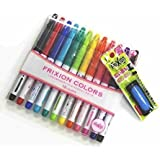 2 X Pilot Frixion Colors Erasable Marker -12 Color set/ Value set Which Attached the Eraser (Blue) Only for Friction