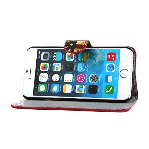 tinxi® Kunstleder Tasche für Apple iPhone 6 plus/6s plus (5.5 zoll) Schutzhülle Tasche Flipcase Case Schale Hülle Cover Standfunktion mit Karten Slot USA Flagge