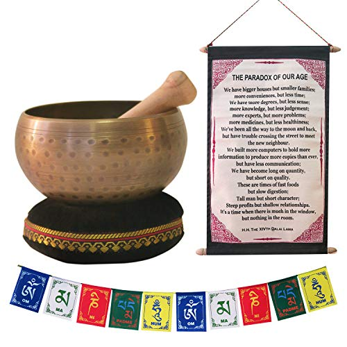 """Tibetan Singing Bowl for Meditation, Healing & Yoga 4""""/5""""/6"""" Set with Mallet & Velvet Cushion, with Free Gift of Tibetan Prayer Flags & The Dalai Lama Quote Wall Art for Peace, Harmony, Stress Relief"""