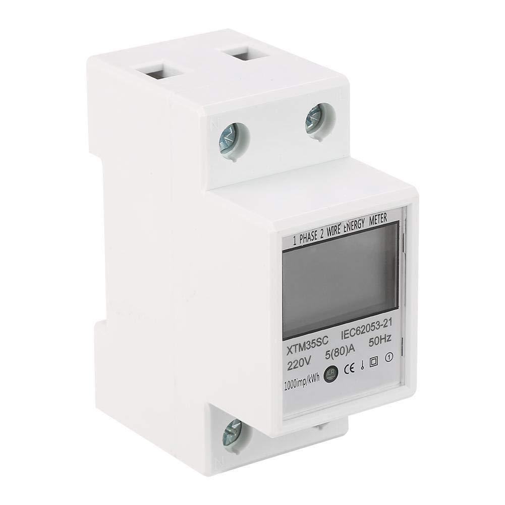 GXMZL KWh Meter A Digital 1-Fase 2 Wire 2P DIN-Rail Contador el/éctrico electr/ónico KWh Meter 220V 5 80