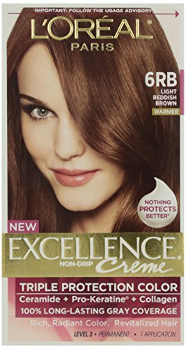 - L'Oreal Excellence Creme Triple Protection Hair Color, Light Reddish Brown (Warmer) [6RB] 1 Each