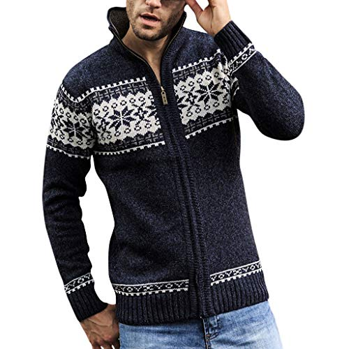 WUAI-Men Autumn Winter Coat Casual Full Zip Thick Knitted Cardigan Sweaters with Pockets(Dark Blue,US Size M = Tag L)