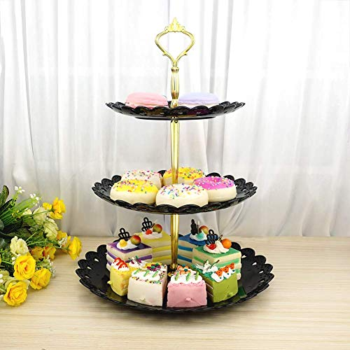 - Three Tiered Serving Stand | Tray For Parties | Round Platter For Cupcakes Fruits Dessert or Tea | Cake Pop Stand And Buffet Server for Wedding Birthday Graduation Summer Tea Party (free, Black)