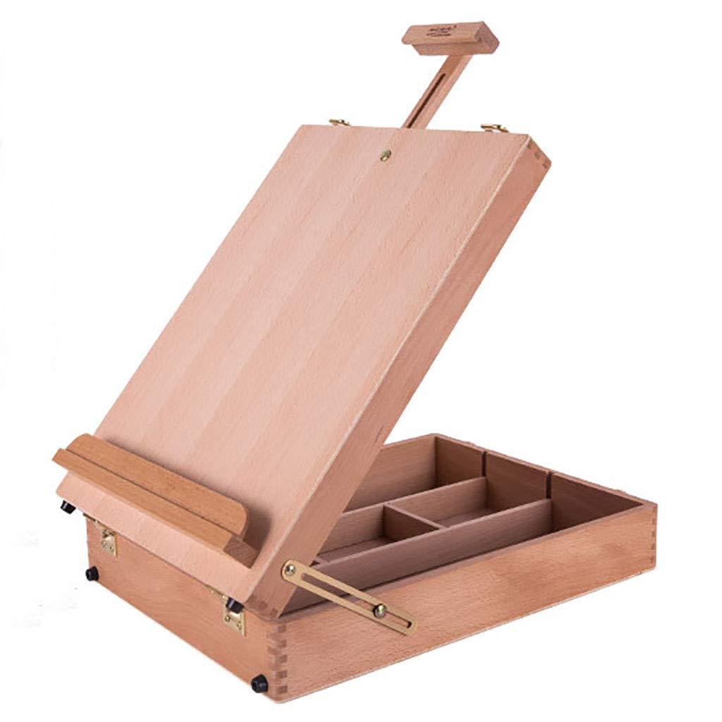 Reducción de precio RFJJAL Caja de Herramientas portátil de Madera de la Caja de la Pintura al óleo portátil de Madera sólida de la Base Caja de Herramientas de Madera para Pintar