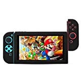 BUBM Soft Silicone Case Anti-slip Protective Cover Seperate bodies Case for Nintendo Switch (Black)