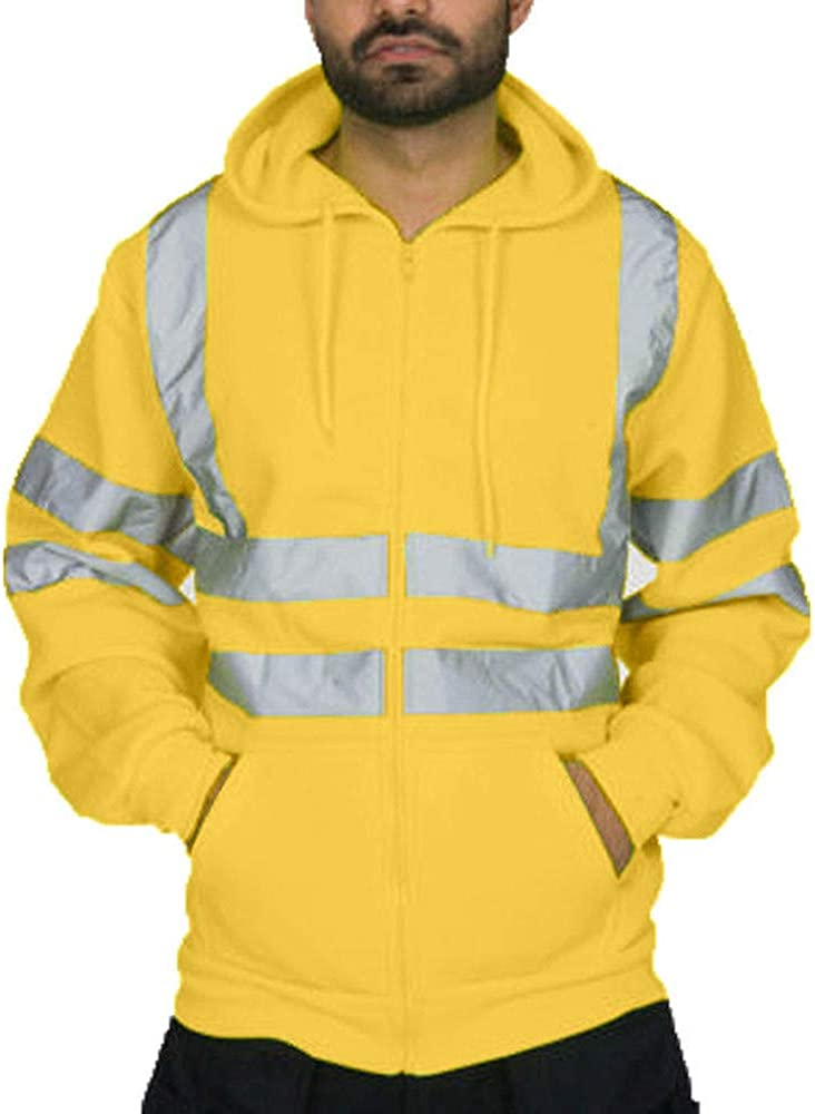 cobcob Mens Hooded Jackets,Males Zipper Pockets High Visibility Drawstring Coat Road Work Outwear Sportwear