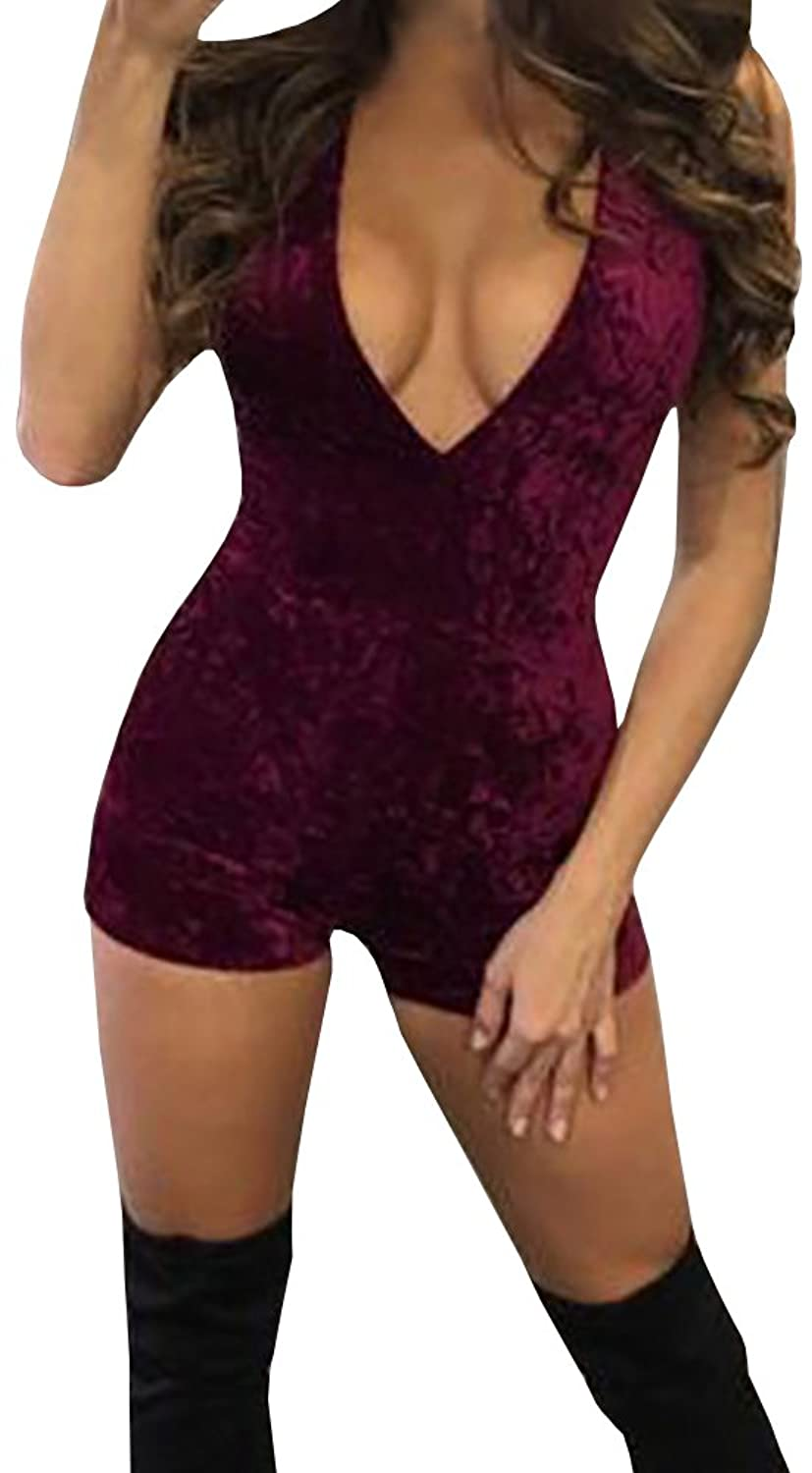 Ofenbuy Women's Velvet Sexy V Neck Jumpsuits Bodycon High-Waist Rompers Tops