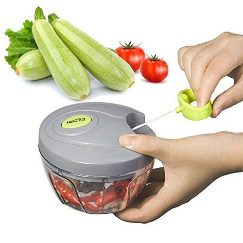 HOMEPUFF Mini manueller Zerkleinerer Gemüseschneider/ zwiebelschneider/ Universal-Zerkleinerer mit drei scharfen Klingen