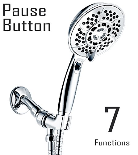Handheld Shower Head, Wassern High Pressure 7 Setting 81 Jets Rainfull Massage Water Saving Trickle Pause Extra Long 80'' Stainless Steel Hose Angle Adjustable Bracket 5.2'' Chrome-Charity: Water