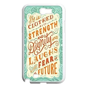 Customized She is clothed with strength Note2 Cover Case, She is clothed with strength Custom Phone Case for Samsung Galaxy Note2 N7100 at Lzzcase