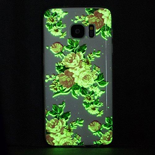 Noctilucent Funda para Samsung Galaxy S7 Samsung G930, Ukayfe Moda Alta Calidad suave de TPU Silicona Suave Funda Carcasa Caso Parachoques Diseño pintado Patrón para Samsung Galaxy S7 Samsung G930,Fun Noctilucent-Flor rosa