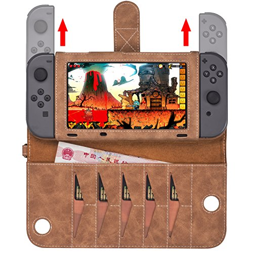 Nintendo Switch Cases Leather Covers Carrying Travel Card Case Stand with 10 Card Slot Wrist Strap Wallet Function Magnetic Closure (Brown)