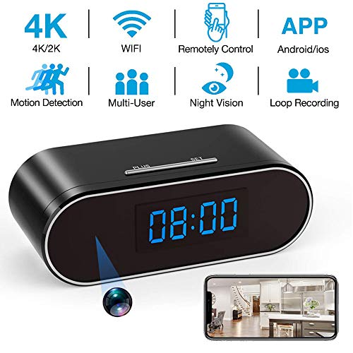 Hidden Camera Clock 4K WiFi Wireless 2019 Newest IP Camera with Seven Level Motion Detection Sensitivity,Password Protection and Automatically Turn on/off IR Light Function for Home via iPhone/Android