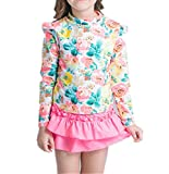Baby Girls Kids 2 Piece Long Sleeve Floral UV Sun Protection Rash Guards Swimsuit Bathing Suit - Pink -