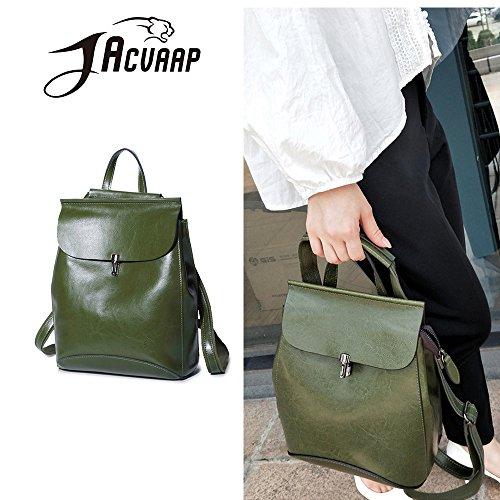 (JVP1087-L) Señoras de cuero de la mochila de nuevo de cuero verde de gran capacidad 3way bolso de hombro trasero bolso de hombro Las niñas retro simples viajan la luz linda popular de moda Verde
