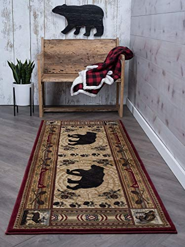 Universal Rugs Black Bear Runner Rug, 2 7 x 7 3 , Brown