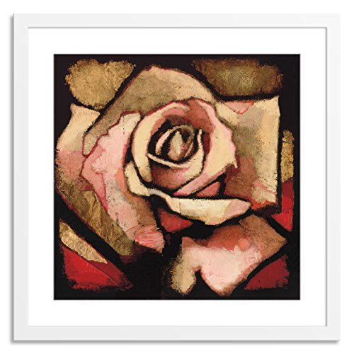 Gallery Direct AA102A-24x24-PF-F0175-ML002 Rose Study I by Arthur Albin Artwork on Paper with White, Clean and Simple Frame, 34