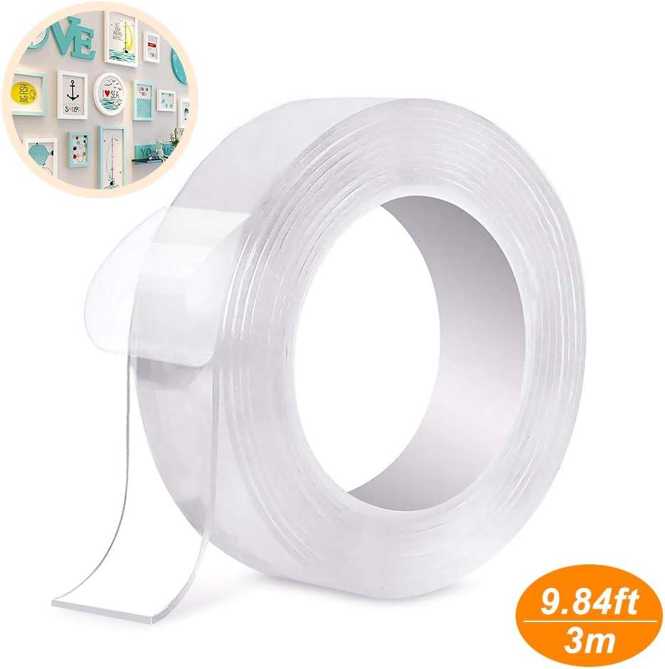 5M Fissare Tappeti Trounistro Nano Nastro Biadesivo Nastro Biadesivo Riutilizzabile Nastro Biadesivo Trasparente Nano Magic Tape rimovibile lavabile Tracciante per Articoli Da Incollare