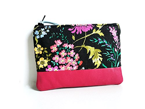 Garden Black Small Leather Pouch, Coin Purse Wallet