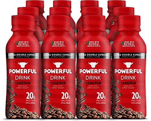Powerful | High-Protein Greek Yogurt Drink | All-Natural | Gluten-Free | 20g Protein | 135mg of Caffeine | Mocha Double Espresso (12 Count) (Amazon Pantry Yogurt)