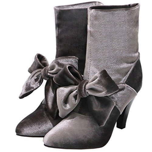 TAOFFEN Women's Booties Boots Gray KxFsdY