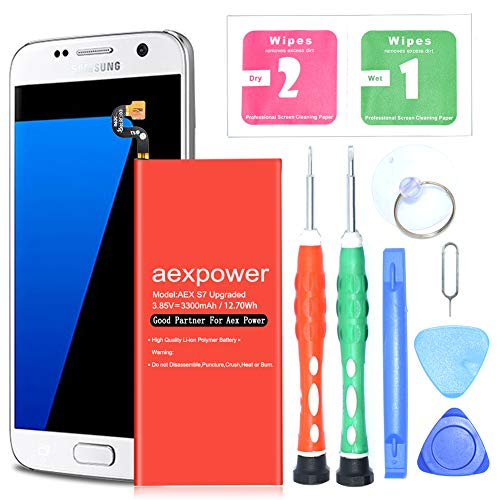 Galaxy S7 Battery,Upgraded AexPower 3300mAh Li-Polymer Battery EB-BG930ABE Replacement for Samsung Galaxy S7 G930 G930V G930A G930T G930P | S7 Battery Replacement Kit(24 Month Warranty)