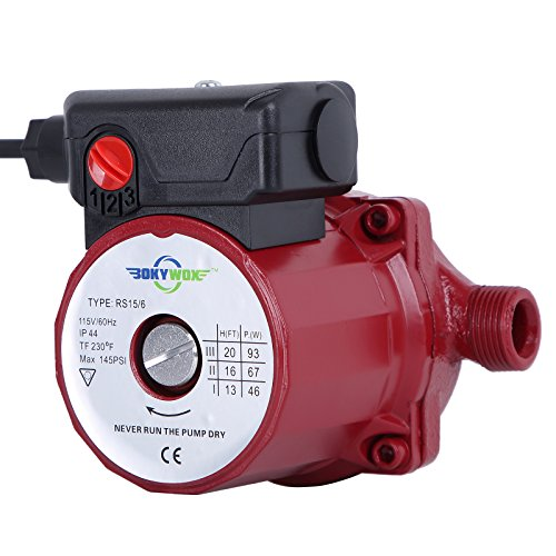 BOKYWOX 110V 93W NPT3/4'' Food Grade Circulator Pump 3-Speed Control Domestic Silent Hot Water Booster Circulation Pump(RS15/6R)
