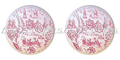 SET OF 2 KNOBS - Red Toile - Prints Patterns - DECORATIVE Glossy CERAMIC Cupboard Cabinet PULLS Dresser Drawer KNOBS