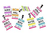 Set of 8 Teachers Hall Passes, Colorful Chevron