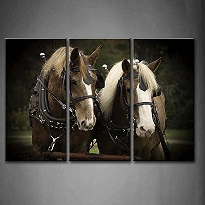 3 Panel decorativo blanco y negro Plow equipo caballo Plow equipo ...