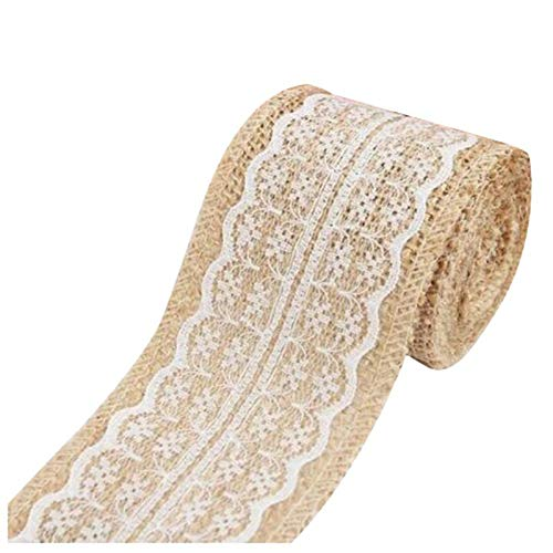 Jammas 2M Pretty Lace Edged Hessian Burlap Ribbon Roll for Rustic Wedding Party Decor Color:White