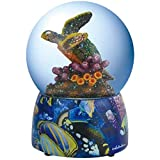 WL Colorful Majestic Turtle Swimming in Coral Reef Water Globe, 100mm