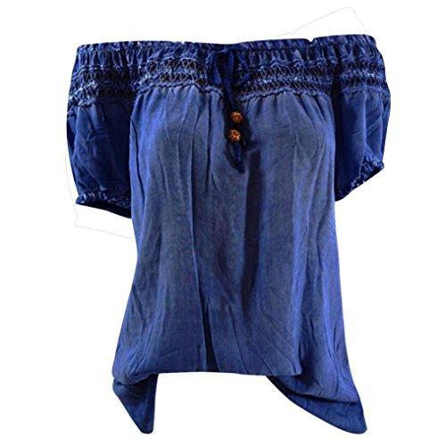 iTLOTL Women Summer Lace Short Sleeve Cotton Cold Off Shoulder Blouse Top T Shirt(US:8/CN:M, ()