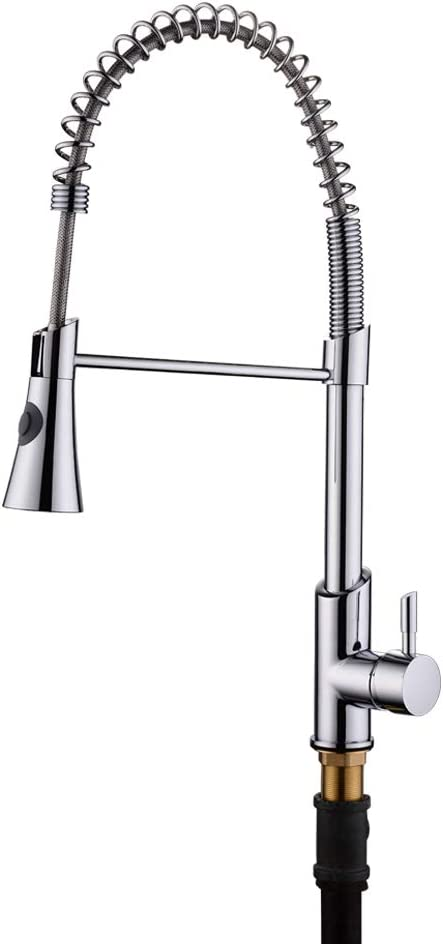 Single Handle Kitchen Sink Faucet with Pull Down Spray Head, Solid Brass Kitchen Faucet with Spring Sprayer Silver