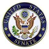 "United States Senate Seal Pin. 1"" Die Struck from jewelers metal, with bold enamel colors, gold plated and epoxy coated. The seal of the United States Senate is the official seal to authenticate certain official documents. This seal also serves as a ..."