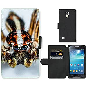 Super Stella Cell Phone Card Slot PU Leather Wallet Case // M00106803 Jumping Spider Small Spider Spider // Samsung Galaxy S4 Mini i9190