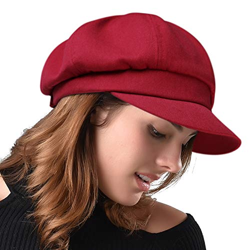- FURHATMALL Newsboy Cap for Women Spring Summer Thin Cotton Linen Gatsby Visor Hat Wine Red, Medium Size (22''-22.6'')