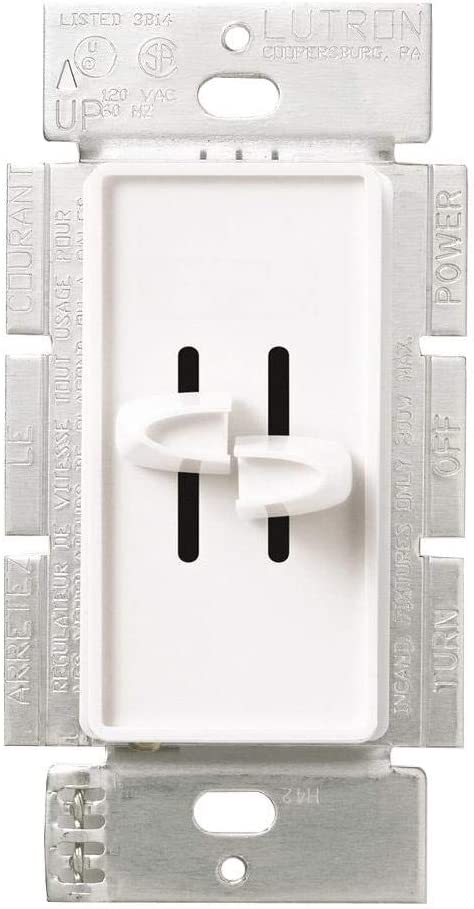 Lutron S2-L-WH 300-Watt Skylark Dual Slide-to-Off Dimmer, White - Wall Dimmer Switches -