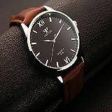 Relojes de hombre Yazole los hombres relojes de moda ronda relojes romanos de los hombres reloj de pulsera de cuarzo analógico digitales reloj de vestir Relojes de mujer ( Color : Marrón )