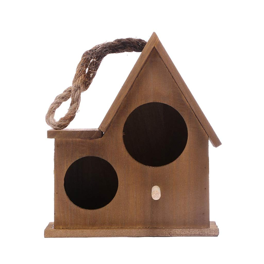 Brown Large Brown Large Double Hole Bird Nest Parred Warm Breeding Box Solid Wood Incubator Hanging Bird Cage Pet Small House (color   Brown, Size   Large)