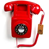 GPO 746 1970's Retro Wall Corded Rotary Dial Style Telephone in Red - Boxed